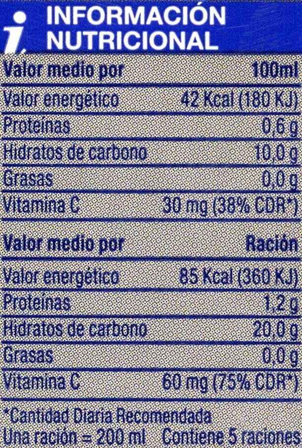 Zumo de naranja exprimida con pulpa - Voedingswaarden - es
