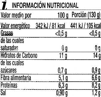 Lentejas cocidas - Información nutricional - es