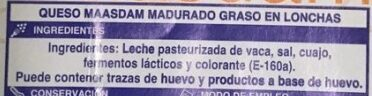Queso en lonchas Maasdam - Ingredients