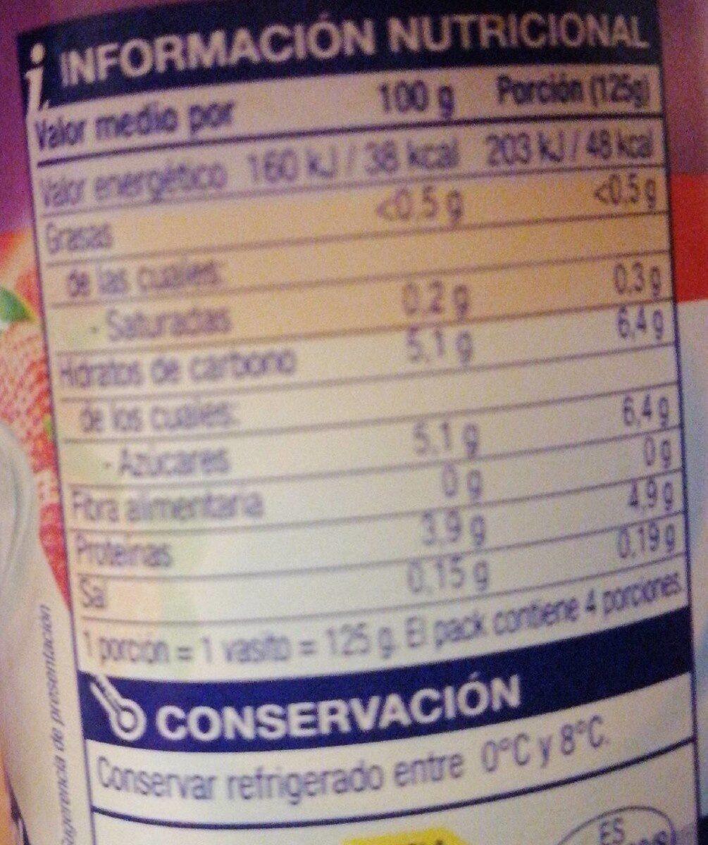 Yogur desnatado - Voedingswaarden - fr