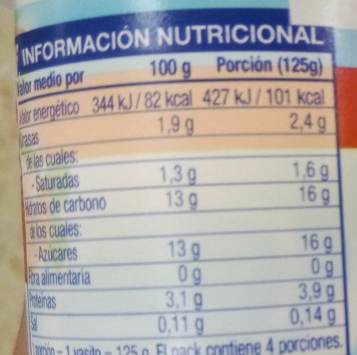 Yogurt de fresa - Nutrition facts - es