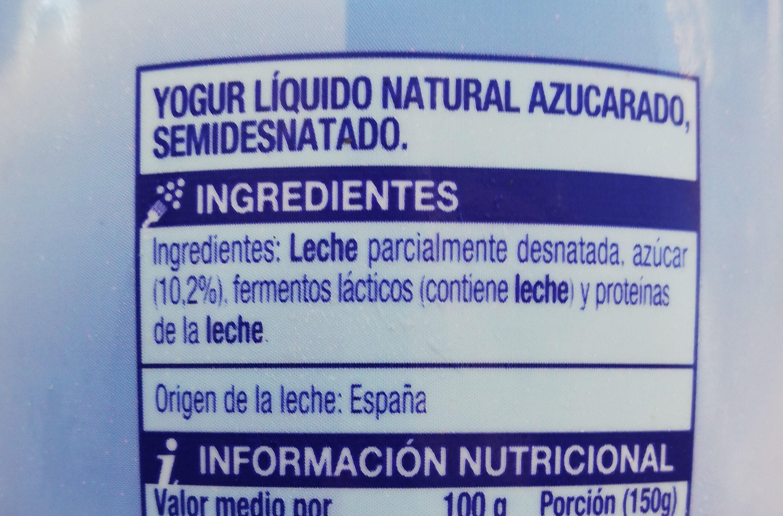 Yogur natural azucarado - Ingredients