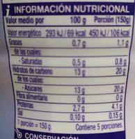 Yogur natural azucarado - Nutrition facts