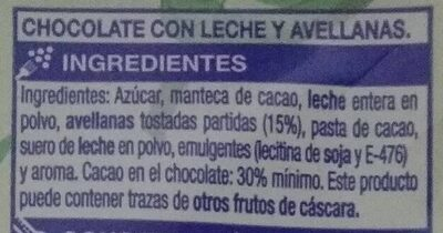Chocolate com Leche y Avellanas - Ingredientes