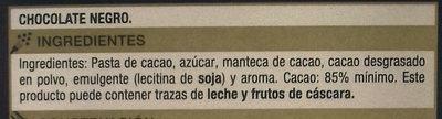 Chocolate negro 85% - Ingredientes - es