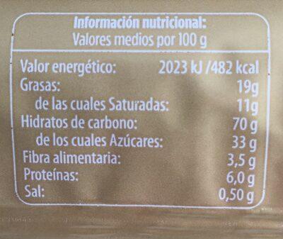 Galletas rellenas de chocolate - Informació nutricional