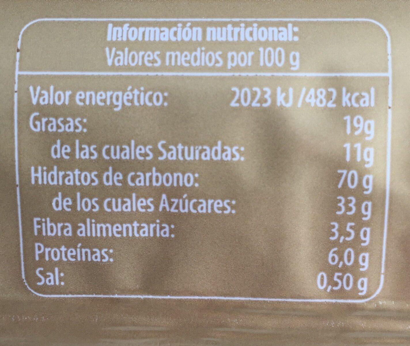 Galletas rellenas de chocolate - Informació nutricional - es
