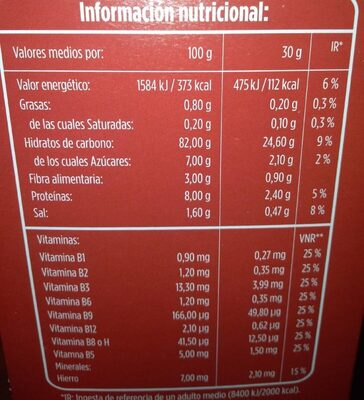 copos de maiz - Nutrition facts - es