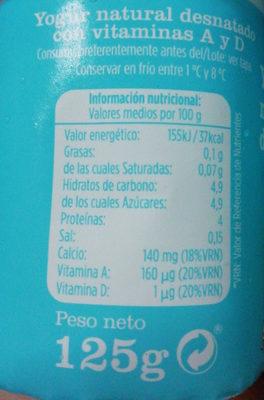 Yogur natural desnatado 0% - Información nutricional