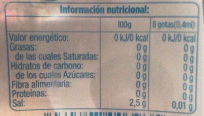 Edulcorante liquido - Información nutricional - es