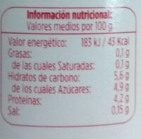 Desnatado con fresa 0% - Información nutricional
