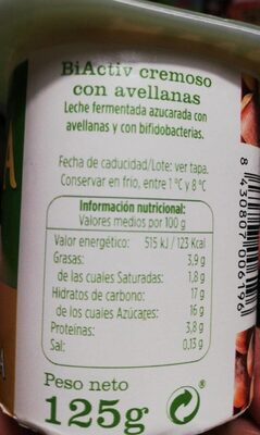 Biactiv cremoso con avellanas - Información nutricional
