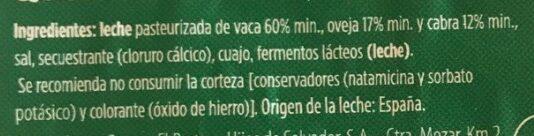 Queso semicurado - Ingredientes