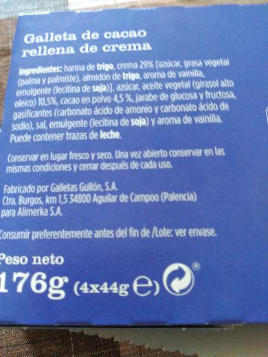 Galleta de cacao rellena de crema - Ingredients
