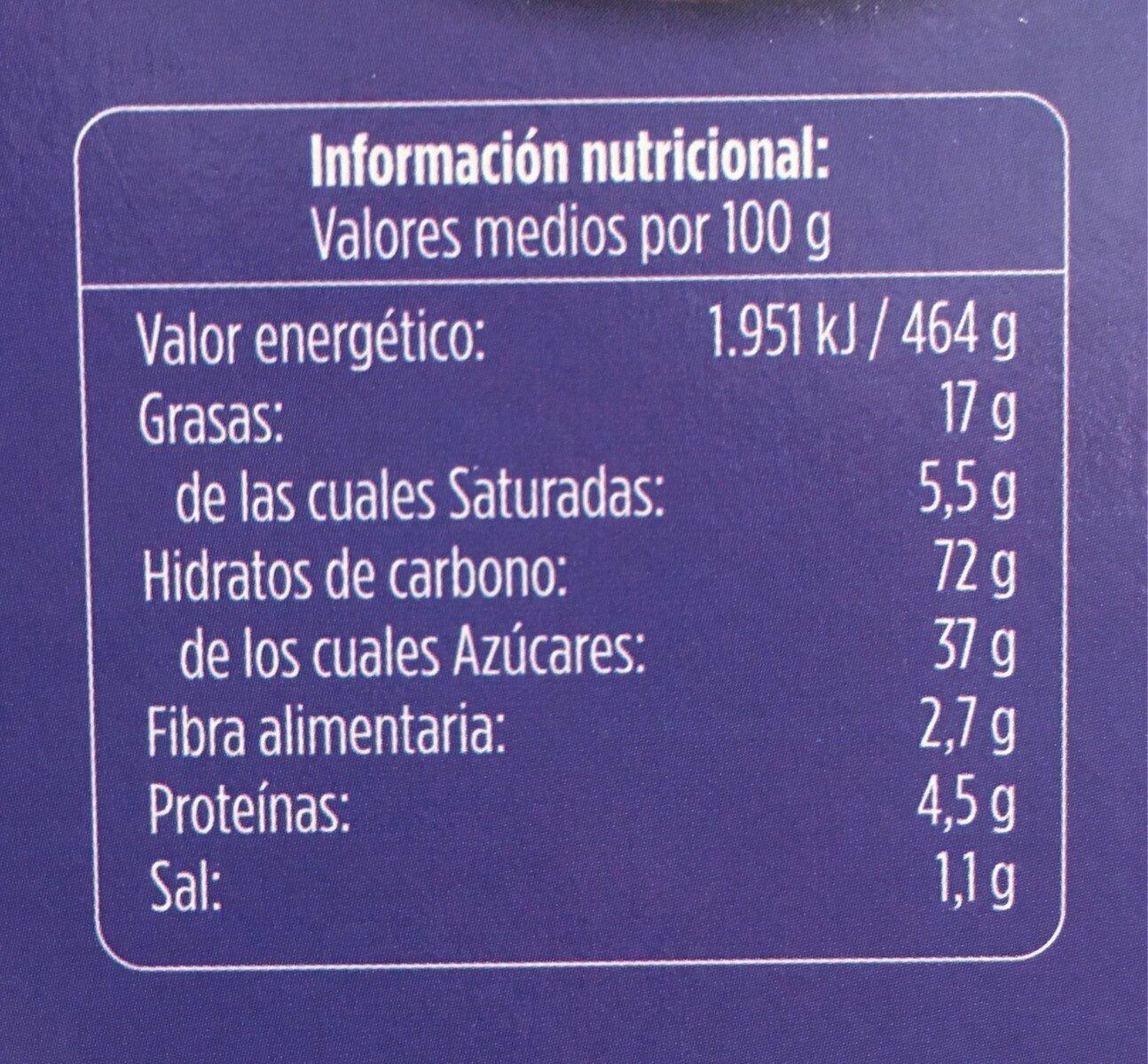 Galleta de cacao rellena de crema - Nutrition facts