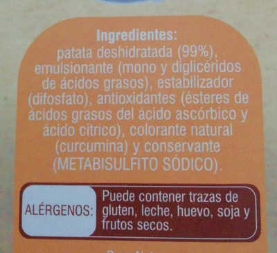 Puré de patatas - Съставки - es