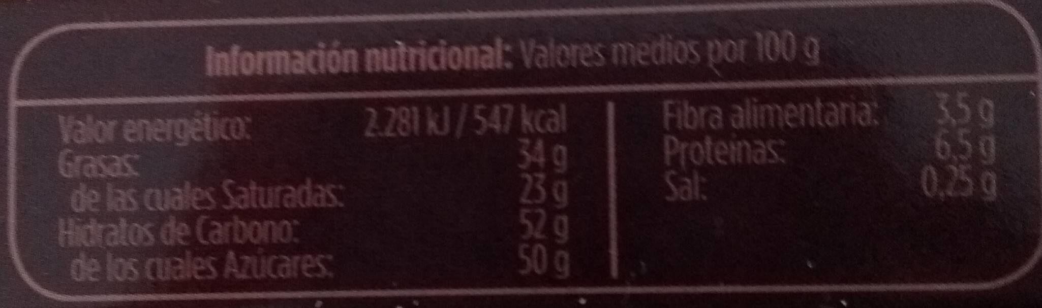 Turrón tres chocolates - Nutrition facts