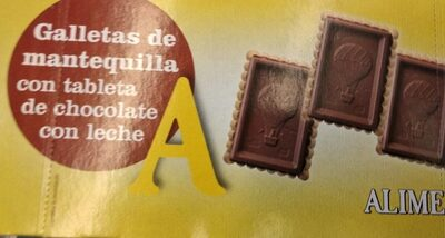 Galletas de mantequilla con tableta de chocolate con leche