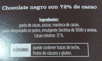 Chocolate negro 72% alimerka - Ingredientes - es