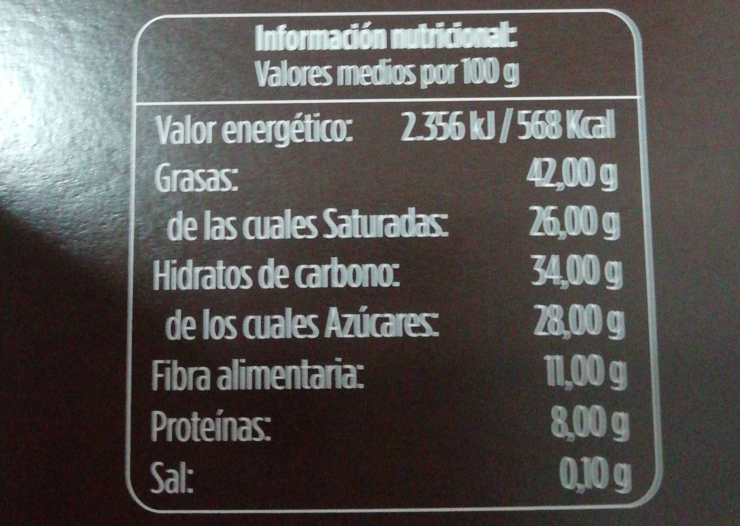 Chocolate negro 72% alimerka - Nutrition facts