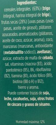 Copos de trigo integral con frutas - Ingredientes - es