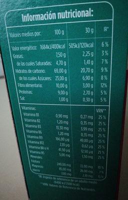 Copos de trigo integral con frutas - Información nutricional - es