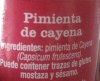 Pimienta de Cayena - Voedingswaarden
