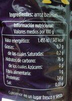 Arroz basmati - Informació nutricional