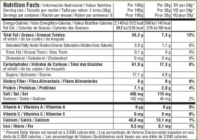 Tortas de aceite con finas hierbas - Informations nutritionnelles - es