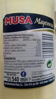 Mayonesa sin gluten - Ingredients - es