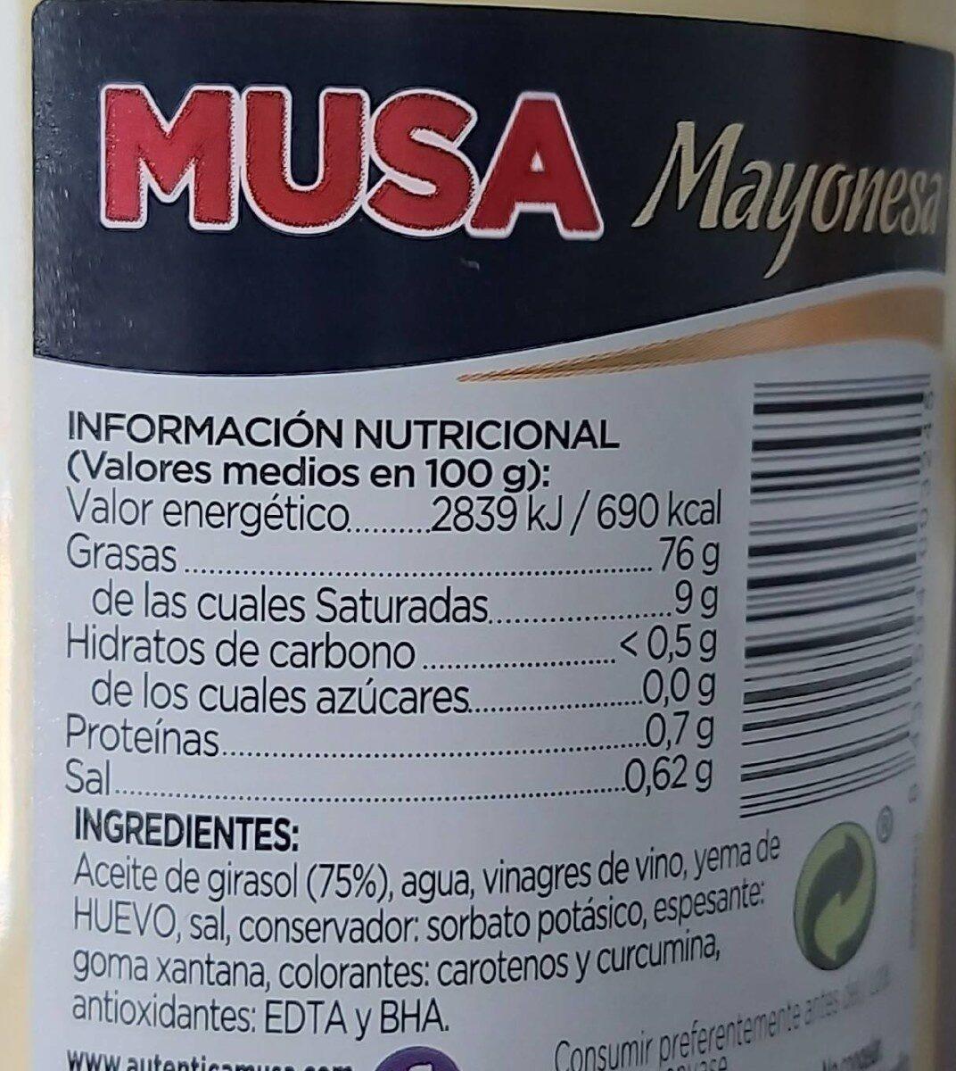 Mayonesa sin gluten - Informació nutricional - es