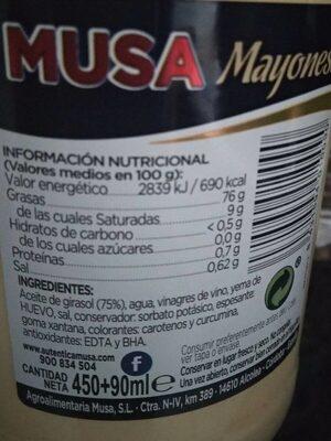 Salsa Mayonesa 450 ml.+ 90ml - Voedingswaarden - fr