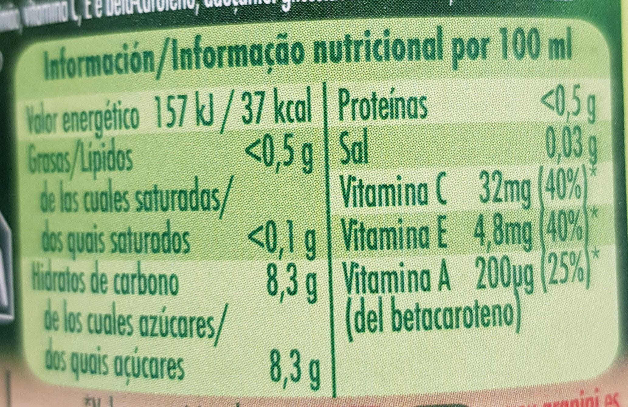 Zumo de zanahoria y naranja - Informations nutritionnelles