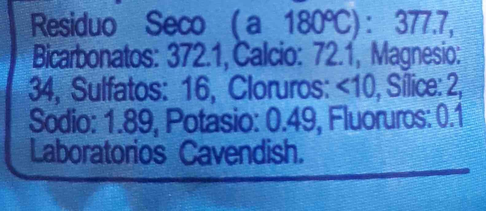 agua Carrefour - Información nutricional - en