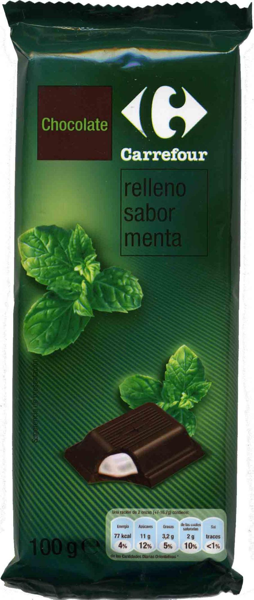 Tableta de chocolate relleno sabor menta carrefour 100 g - Relleno nordico carrefour ...