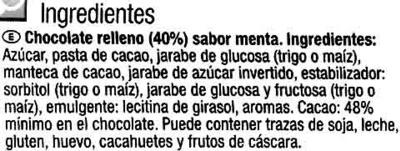 Tableta de chocolate relleno sabor menta - Ingredients - es