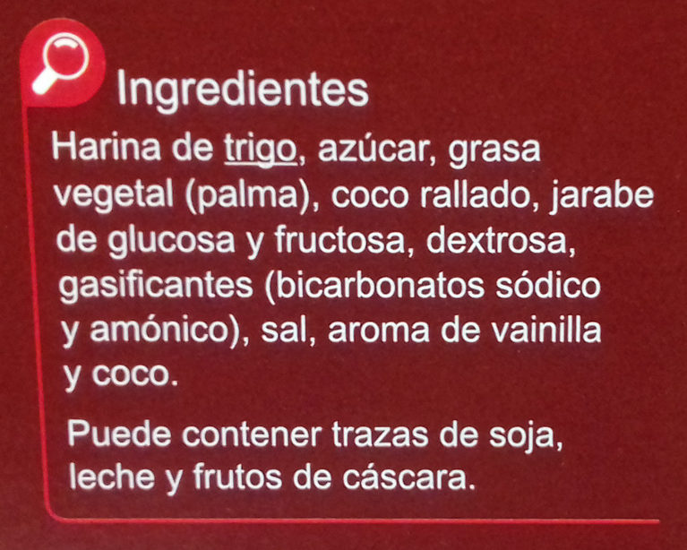 Galleta horneada - Ingredientes - es