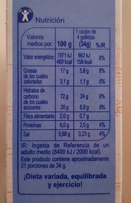 Galleta relieve - Informations nutritionnelles - es