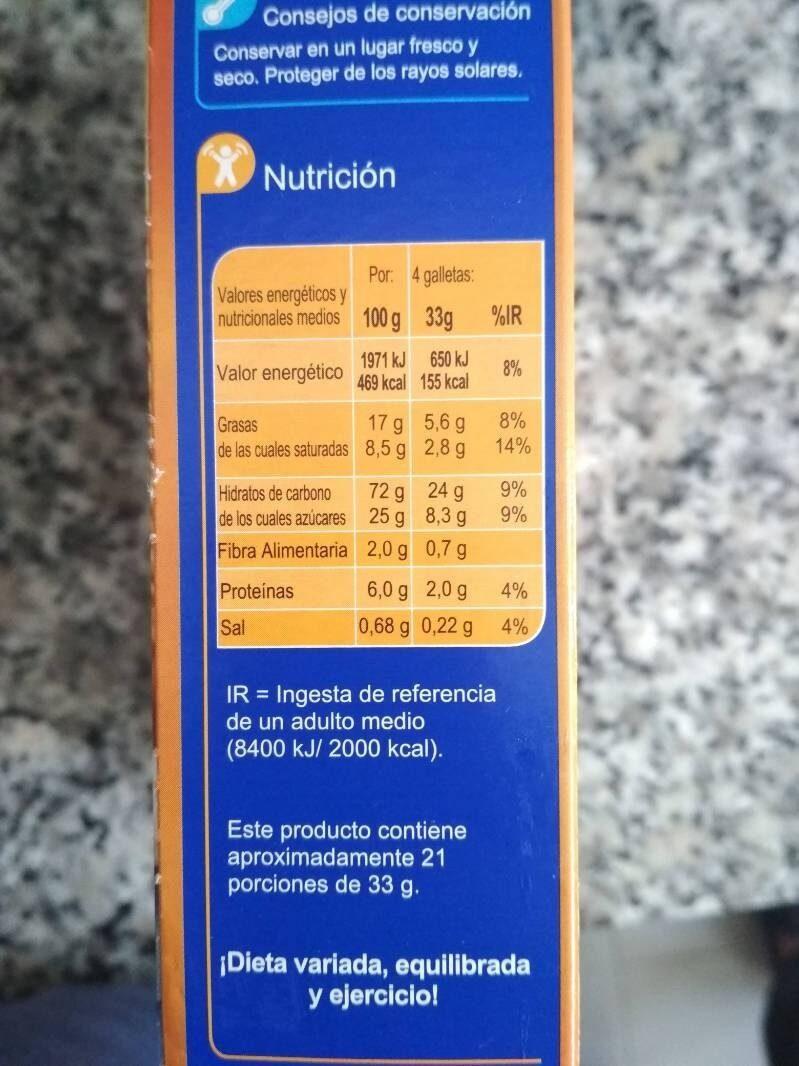 Galletas Relieve toque miel aceite alto oleico - Voedigswaarden