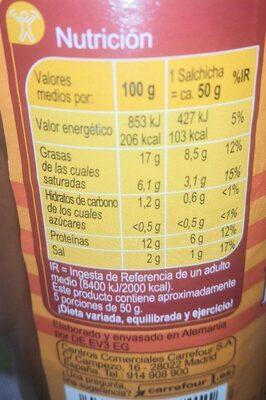Salchicha Bockwurst - Informació nutricional - es