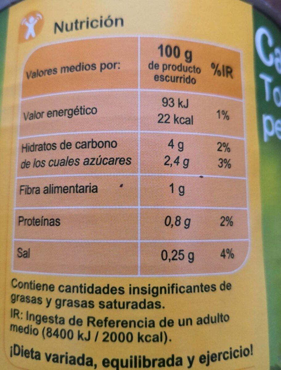 Tomate entero pelado - Voedigswaarden