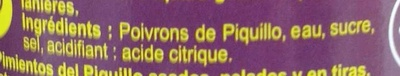 Poivrons Piquillo En lanières - Ingrédients
