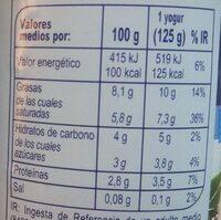Yogur estilo griego Natural - Informació nutricional