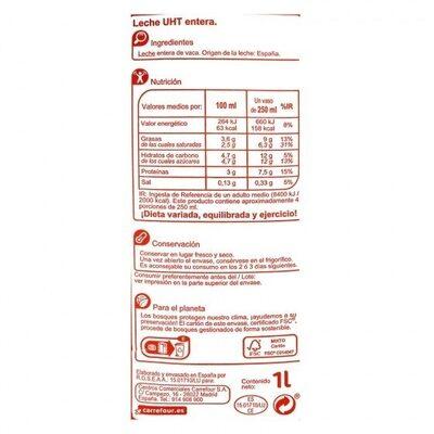 Leche entera - Información nutricional - es