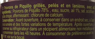 Poivrons Piquillo En lanière - Ingrédients - fr