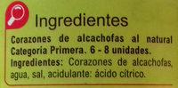 Corazones de alcachofa - Ingredientes
