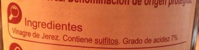 Vinagre de Jerez - Ingredientes