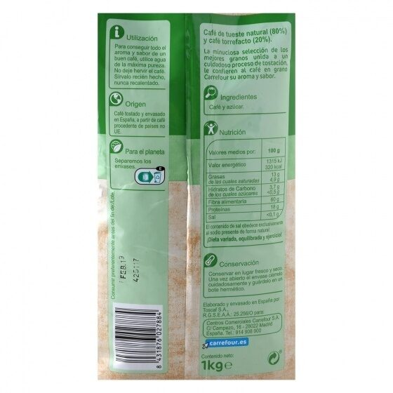Café grano mezcla - Nutrition facts - es