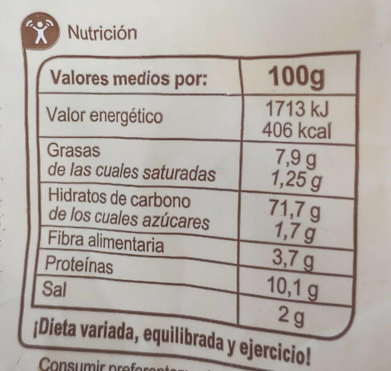 Picos con aceite de oliva y ajo - Información nutricional - fr