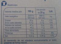 Turrón de chocolate con almendras - Información nutricional